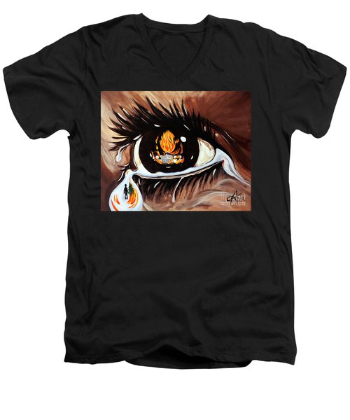 Dark Sorrow  Men's V-Neck T-Shirt by Jackie Carpenter