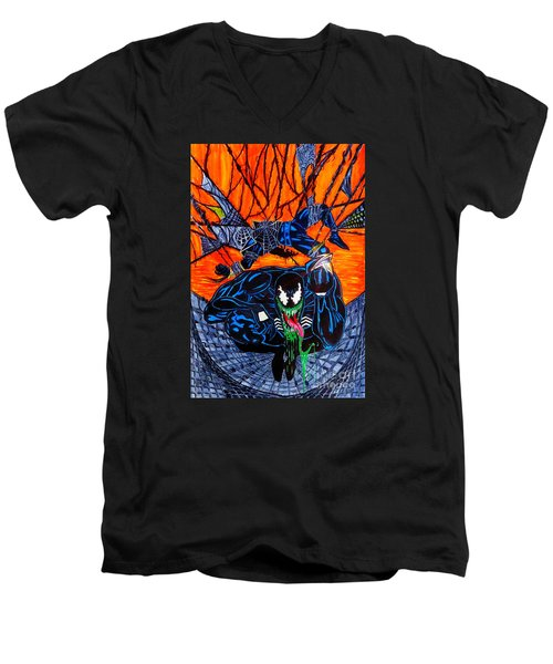 Men's V-Neck T-Shirt featuring the drawing Darkhawk Issue 13 Homage by Justin Moore