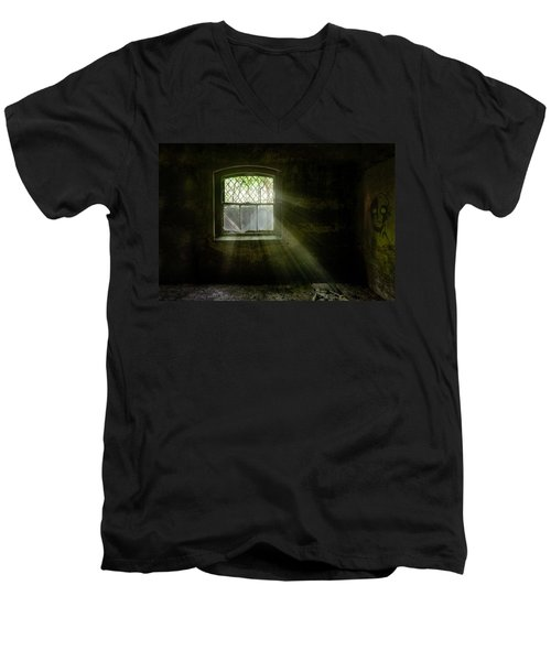 Men's V-Neck T-Shirt featuring the photograph Darkness Revealed - Basement Room Of An Abandoned Asylum by Gary Heller