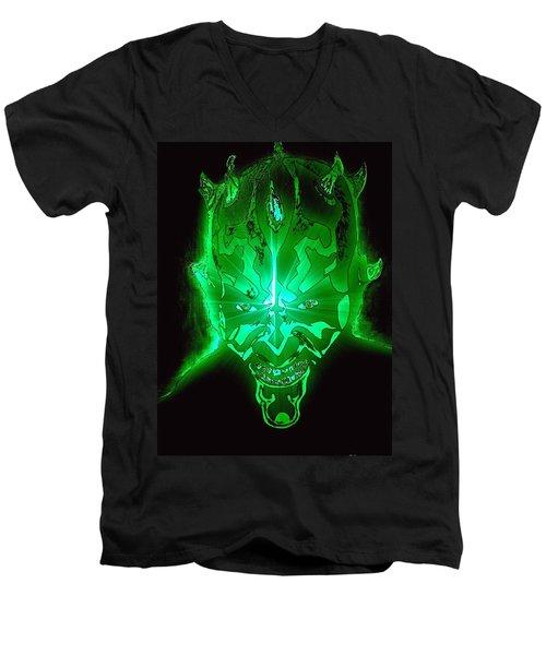 Darth Maul Green Glow Men's V-Neck T-Shirt by Saundra Myles
