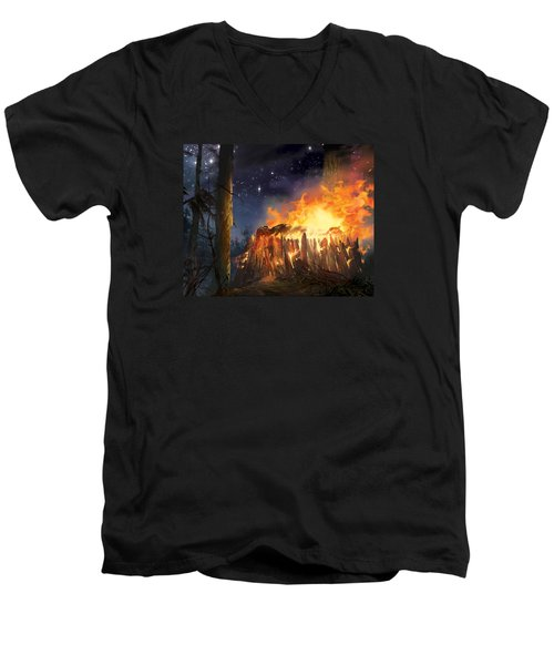 Darth Vader's Funeral Pyre Men's V-Neck T-Shirt