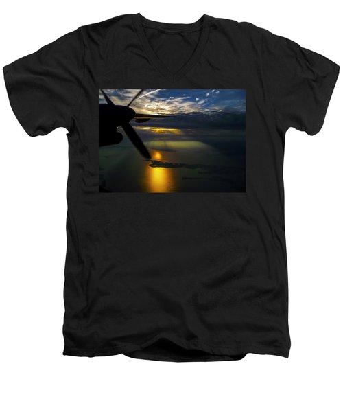 Dash Of Sunset Men's V-Neck T-Shirt by Greg Reed