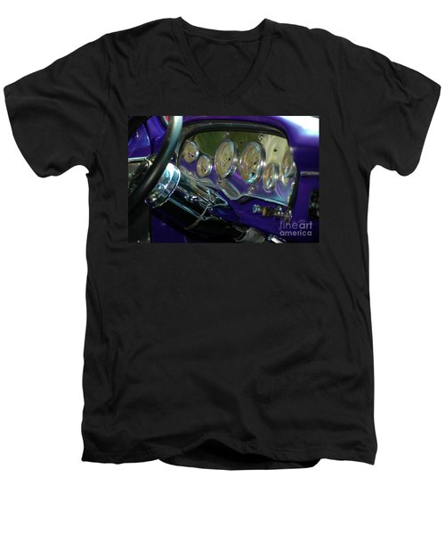 Men's V-Neck T-Shirt featuring the photograph Dashboard Glam by Christiane Hellner-OBrien