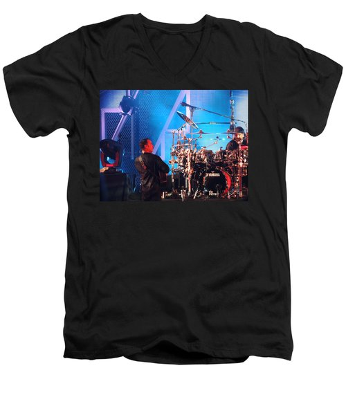 Men's V-Neck T-Shirt featuring the photograph Dave Looks At Carter by Aaron Martens