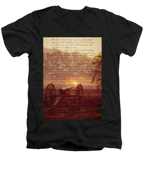 Dawn At Gettysburg Men's V-Neck T-Shirt
