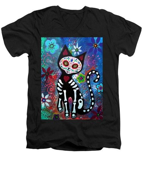 Day Of The Dead Cat Men's V-Neck T-Shirt
