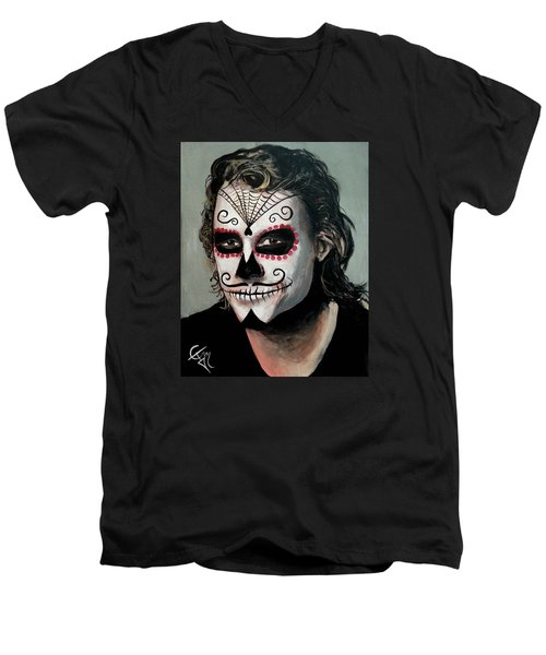 Day Of The Dead - Heath Ledger Men's V-Neck T-Shirt by Tom Carlton