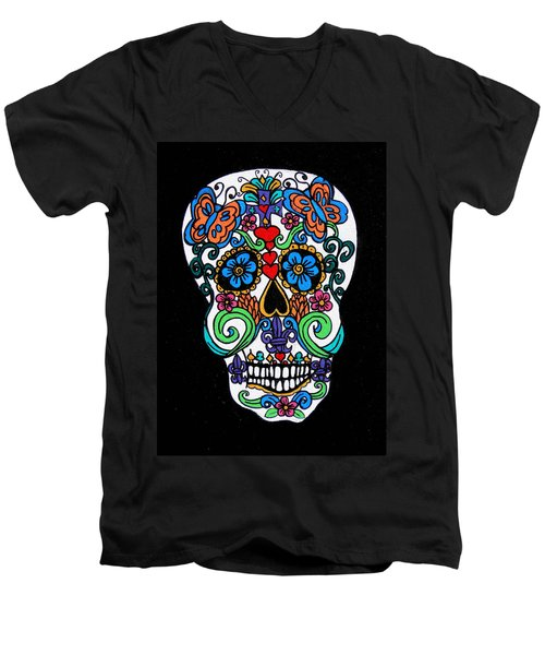 Day Of The Dead Skull Men's V-Neck T-Shirt by Genevieve Esson