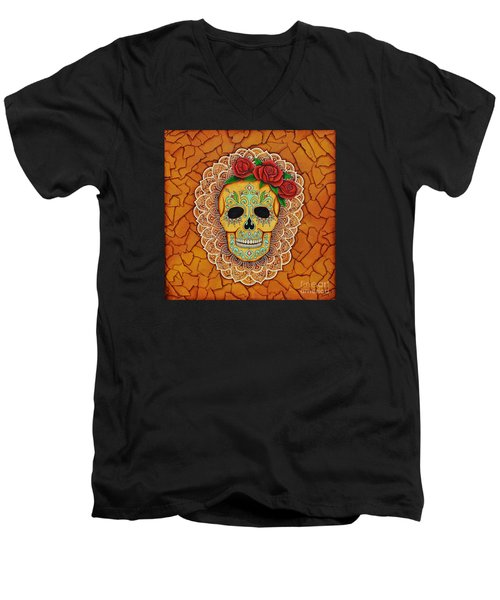 Men's V-Neck T-Shirt featuring the painting Day Of The Dead With Roses And Lace by Joseph Sonday
