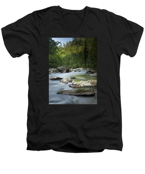 Men's V-Neck T-Shirt featuring the photograph Daybreak In The Valley by Andy Crawford