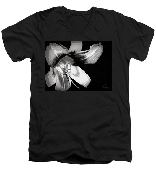 Daylily In Gray Men's V-Neck T-Shirt by Ludwig Keck