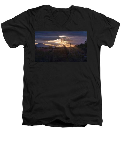 Men's V-Neck T-Shirt featuring the photograph Days End by Dan McManus