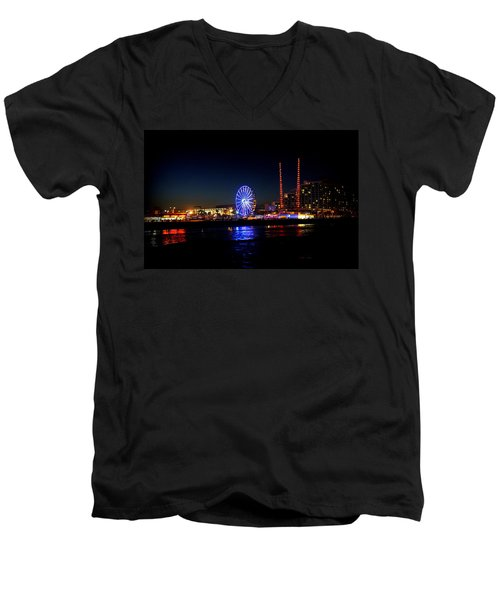 Men's V-Neck T-Shirt featuring the photograph Daytona At Night by Laurie Perry