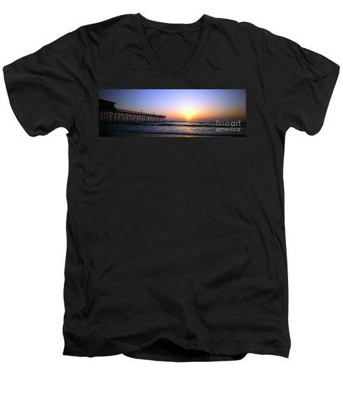 Men's V-Neck T-Shirt featuring the photograph Daytona Sun Glow Pier  by Tom Jelen