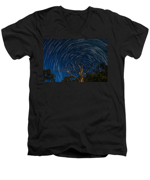 Dead Oak With Star Trails Men's V-Neck T-Shirt by Paul Freidlund