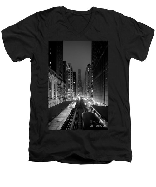 Men's V-Neck T-Shirt featuring the photograph Dear Chicago You're Beautiful by Peta Thames