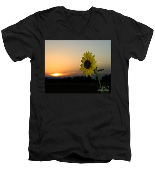 Men's V-Neck T-Shirt featuring the photograph Sunflower And Sunset by Mae Wertz