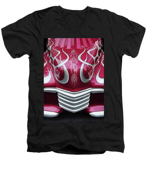 Men's V-Neck T-Shirt featuring the photograph Decorative Chevrolet Hood by Dave Mills