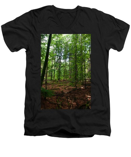 Deep Forest Trails Men's V-Neck T-Shirt by Miguel Winterpacht