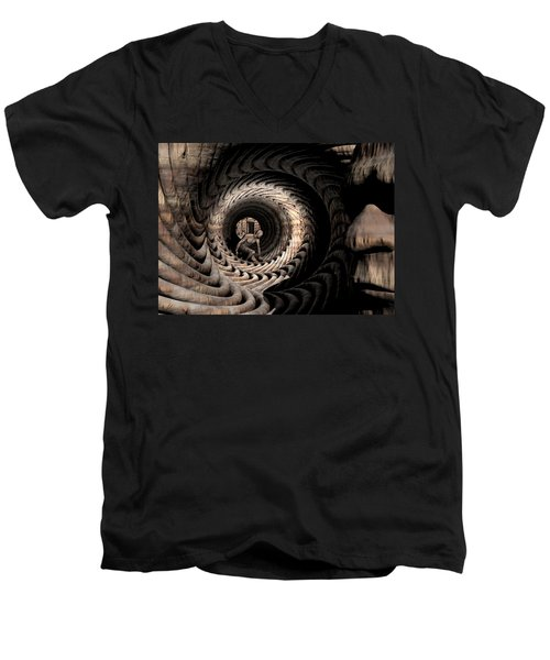 Men's V-Neck T-Shirt featuring the digital art Deep In Thought by John Alexander