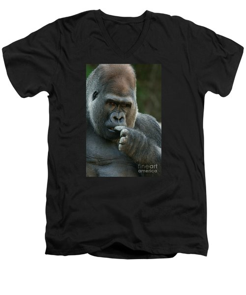 Deep In Thought Men's V-Neck T-Shirt by Judy Whitton