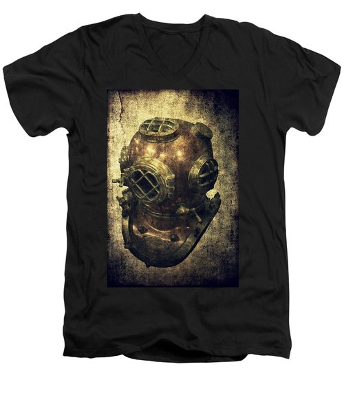 Deep Sea Diving Helmet Men's V-Neck T-Shirt by Daniel Hagerman
