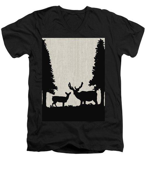 Deer In Forest Men's V-Neck T-Shirt