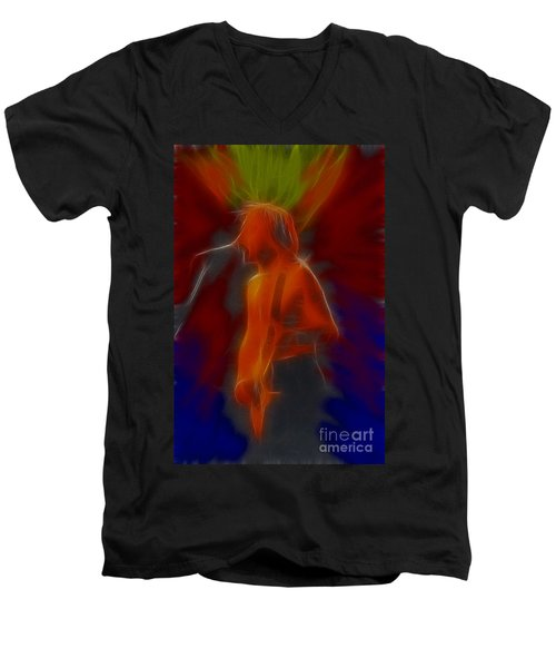Def Leppard-adrenalize-gb13-phil-fractal Men's V-Neck T-Shirt by Gary Gingrich Galleries