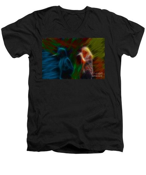 Def Leppard-adrenalize-jor-gb20--fractal Men's V-Neck T-Shirt