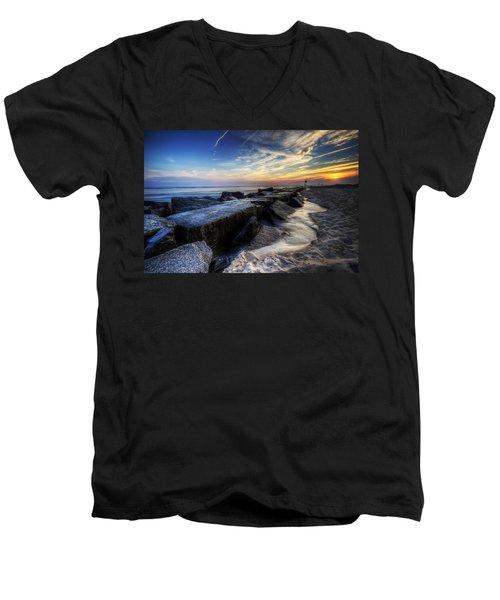 Delaware Sunrise At Indian River Inlet Men's V-Neck T-Shirt
