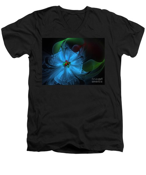 Delicate Blue Flower-fractal Art Men's V-Neck T-Shirt