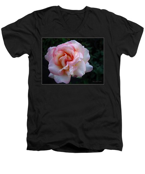 Delicate Pink Men's V-Neck T-Shirt by Joyce Dickens