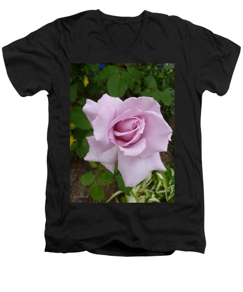 Men's V-Neck T-Shirt featuring the photograph Delicate Purple Rose by Lingfai Leung