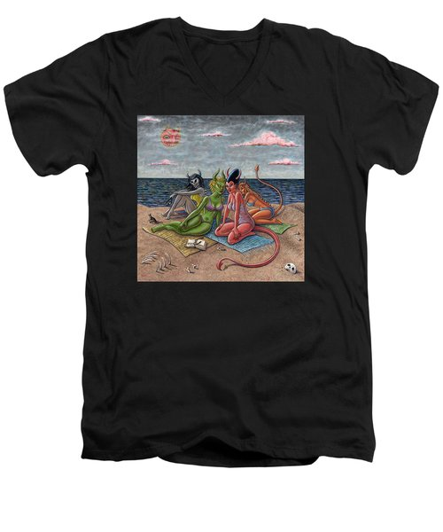 Demon Beaches Men's V-Neck T-Shirt