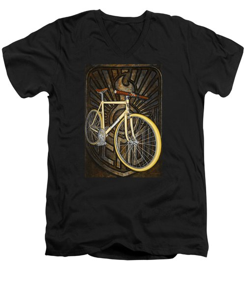 Men's V-Neck T-Shirt featuring the painting Demon Path Racer Bicycle by Mark Howard Jones