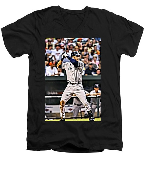 Derek Jeter Painting Men's V-Neck T-Shirt by Florian Rodarte