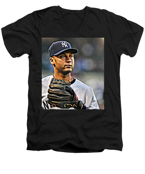 Derek Jeter Portrait Men's V-Neck T-Shirt by Florian Rodarte