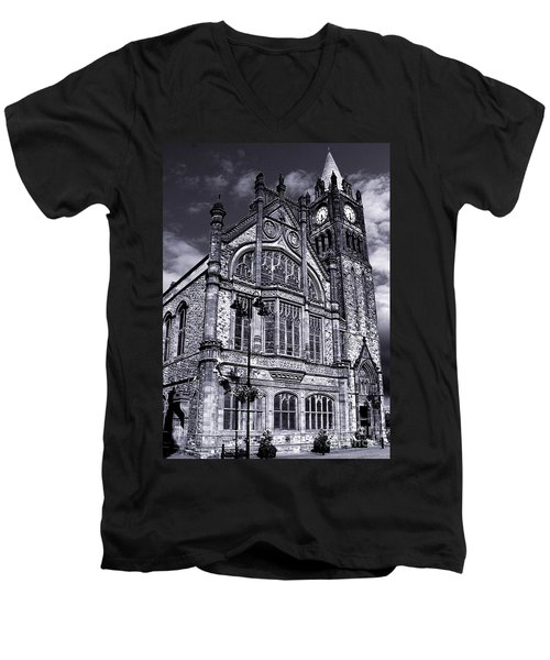 Men's V-Neck T-Shirt featuring the photograph Derry Guildhall by Nina Ficur Feenan
