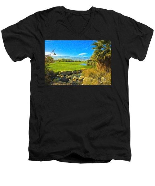Men's V-Neck T-Shirt featuring the photograph Desert Golf Resort Pastel Photograph by David Zanzinger