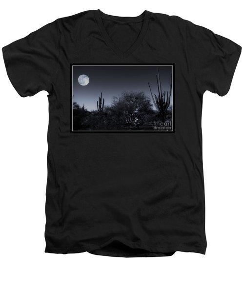Desert Moon Men's V-Neck T-Shirt by Bob Hislop
