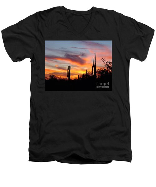 Desert Sunset Men's V-Neck T-Shirt by Joseph Baril