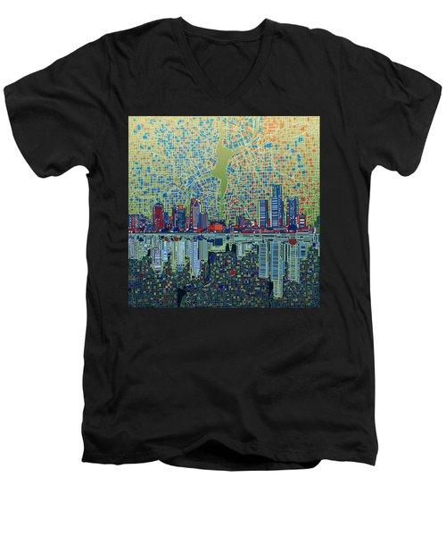 Detroit Skyline Abstract 3 Men's V-Neck T-Shirt