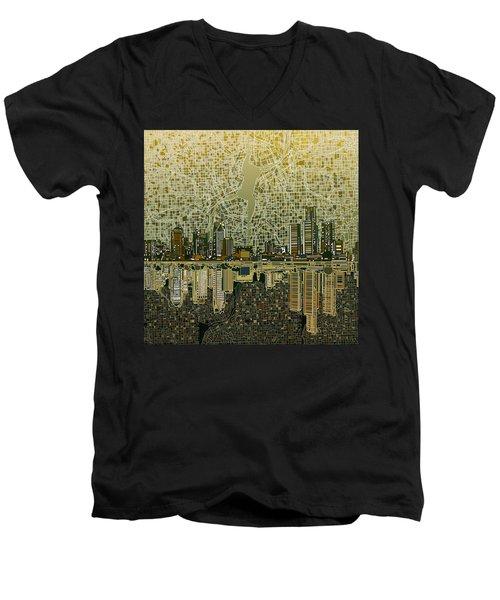 Detroit Skyline Abstract 4 Men's V-Neck T-Shirt