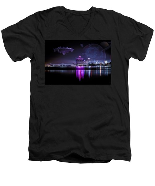 Men's V-Neck T-Shirt featuring the photograph Detroit Worlds by Nicholas  Grunas