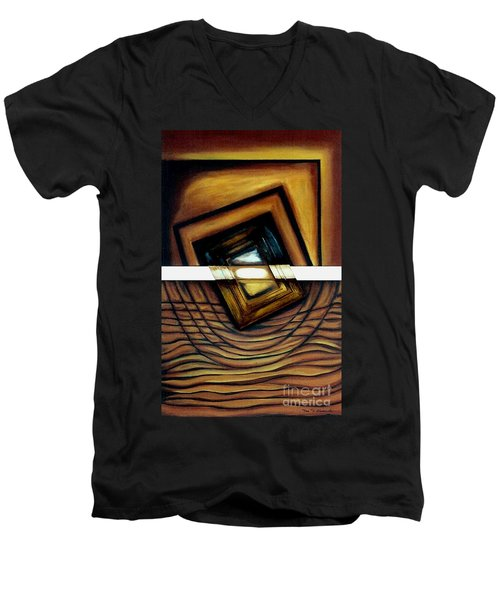Men's V-Neck T-Shirt featuring the painting Deversity View by Fei A