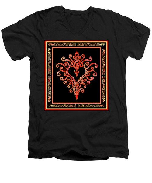 Men's V-Neck T-Shirt featuring the digital art Devil's Heart by Vagabond Folk Art - Virginia Vivier