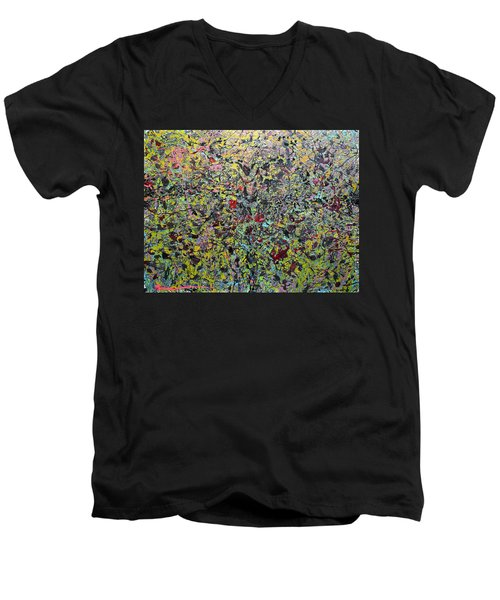Men's V-Neck T-Shirt featuring the painting Devisolum by Ryan Demaree