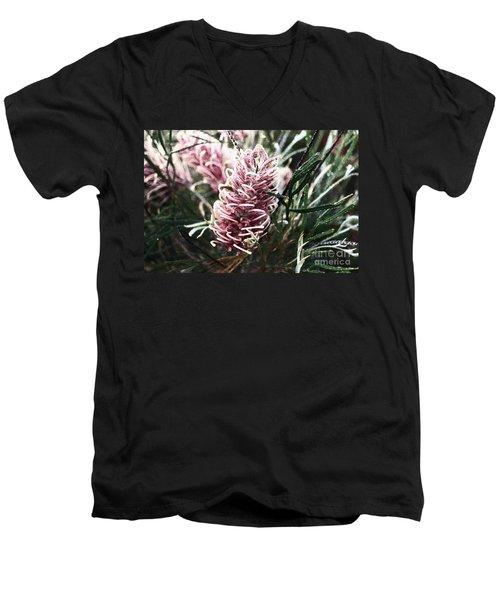 Dew Covered Grevillea Men's V-Neck T-Shirt