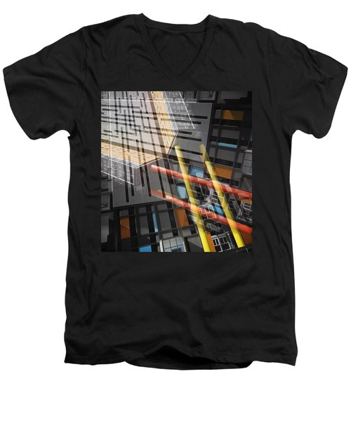 Diagonal Mondrian Men's V-Neck T-Shirt