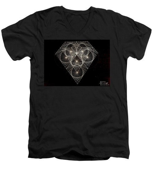 Men's V-Neck T-Shirt featuring the drawing Diamond White And Black by Jason Padgett